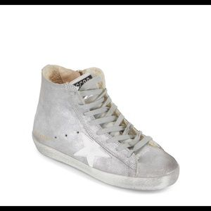 Golden Goose Francy Silver Shearling High Top